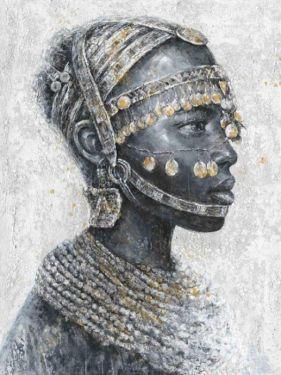 Afrikaanse Man Cultureel Munten Olieverf Schilderij 90x120