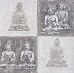 Schilderij zes boeddha beelden 100x100