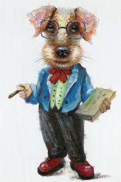 Schilderij hond met bril in pak 60x90