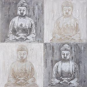 Schilderij vier boeddha beelden 100x100