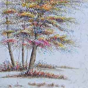Schilderij natuur kleurrijke bomen 100x100