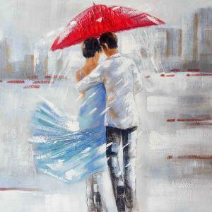 Schilderij romantisch stel wandeling 100x100