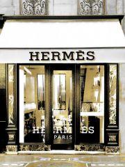 Glas schilderij met goudfolie van Hermes winkel 60x80