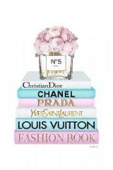 Parfumflesje Bloemen Boeken Merk Prada Fashion Book Glas Schilderij 60x80