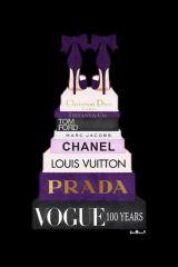 Boeken paars Pumps Merken Vogue Prada Glas Schilderij 60x80