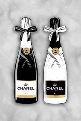 Chanel Strikje Logo Parfum Flesje Goudfolie Glas Schilderij 60x80