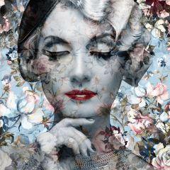 Vintage Vrouw Bloemen Licht Blauw Grijs Glas Schilderij 80x80
