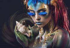 Vrouw Met Schelp Vlinders Bodypaint Make Up Glas Schilderij 160x110