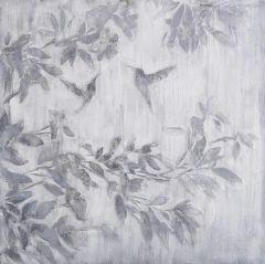 Schilderij grijze struik en vliegende vogels 80x80
